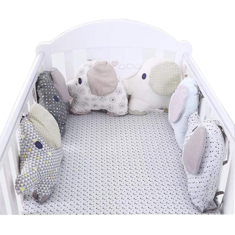 HB.YE 100% Cotton Fait à la Main Tour de lit coussin pare-chocs Protection bébé sécurité Motif Eléphant Imprimé Géométrie Doux et Souple (6Pcs) BB00209