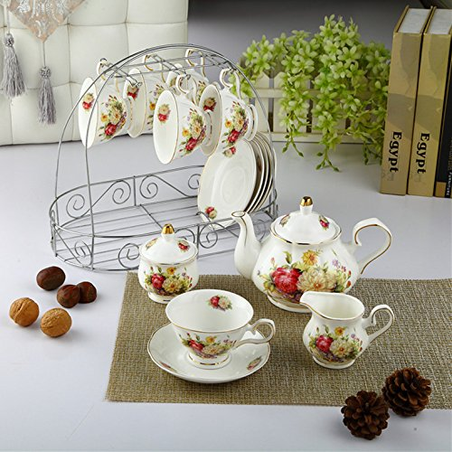 ufengke White And Red Rose Flower 15 Pieces European Ceramic Tea Set Tea Service Coffee Set by ufengke®-ts (Image #4)