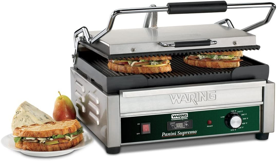 B00ECGW1XM Waring Commercial WPG250T Grooved Panini Grill with Timer, 120-volt 61BYGb8KsPL