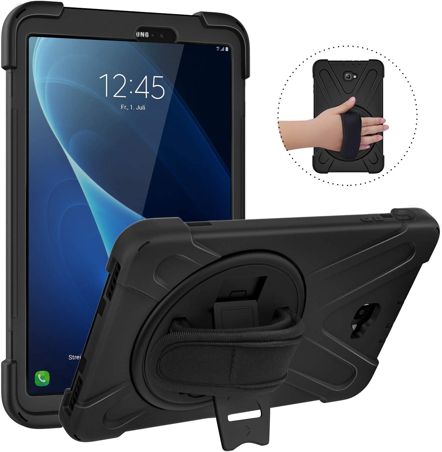 """MoKo Case Fit Samsung Galaxy Tab A 10.1 2016, [Heavy Duty] Shockproof Full-Body Hybrid Rugged 360 Degree Rotating Stand Cover for Galaxy Tab A 10.1"""" Tablet (No S Pen Version SM-T580/T585) - Black"""