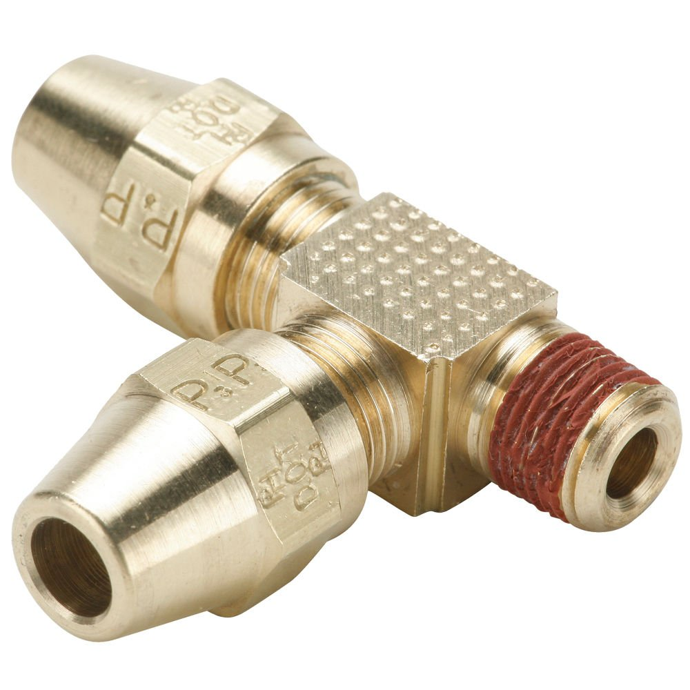 Compression Style Fitting Brass 3//8 Parker VS271AB-6-6 Air Brake D.O.T Compression Run Tee Tube to Pipe