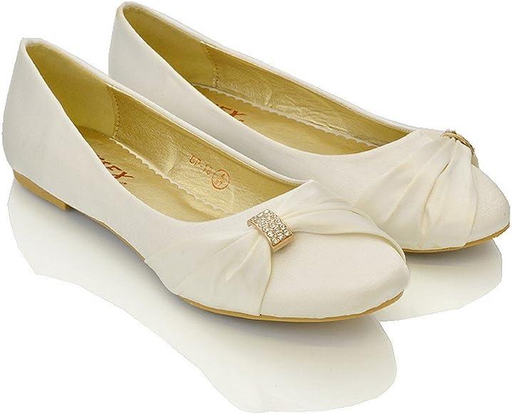 e1ca20207ea99 Womens Bridal Wedding Satin Pumps Ladies Slip On Prom Bridesmaid Pumps  Shoes Size 3 4 5 6 7 8 9
