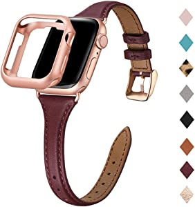Bestig Leather Band Compatible for Apple Watch 38mm 40mm 42mm 44mm, Slim Thin Genuine Leather Replacement Strap for iWatch Series 6 SE 5 4 3 2 1(Wine Band+Rosegold Adapter, 38mm 40mm)