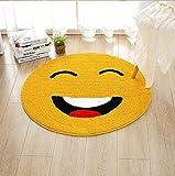 S-ssoy Area Rug Kids' Room Emoticon Carpet Cute Round Non-Slip Emoji Emotion Decorative Mat for Children Home Chair Decorator Dining Room Bedroom Kitchen Bathroom Doorway Nursery (Laugh, 100cm)