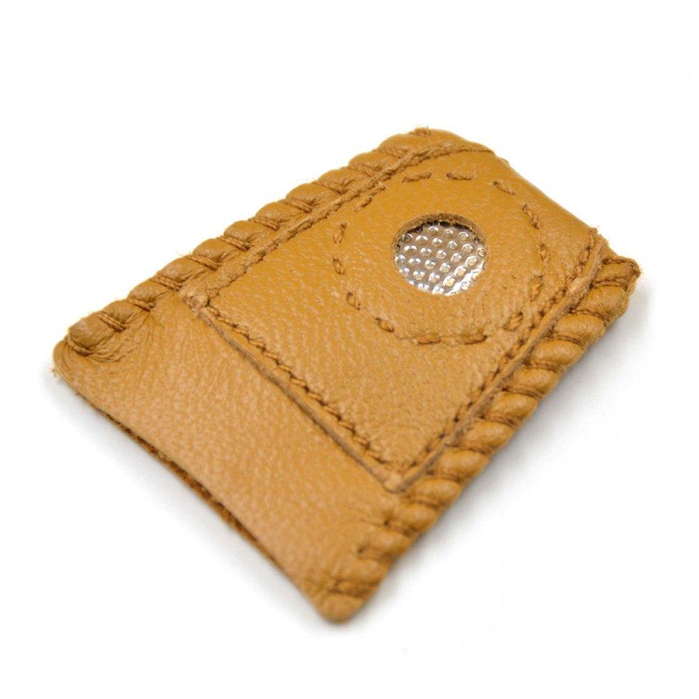 Hrph Cuero sint/Ã/©tico de la moneda de herramientas de costura dedal con punta de metal DIY hecho a mano de la costura de la cubierta del dedal