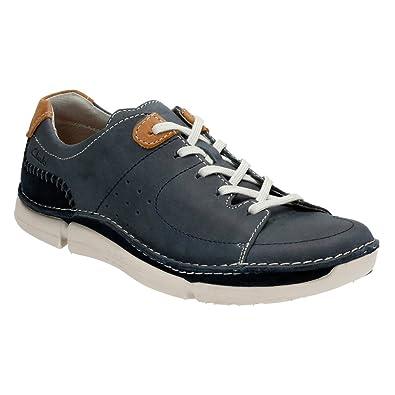 f00d5f28d4e43 CLARKS Men's Trikeyon Mix Lace Up Shoe,Blue Leather,US 9.5 M
