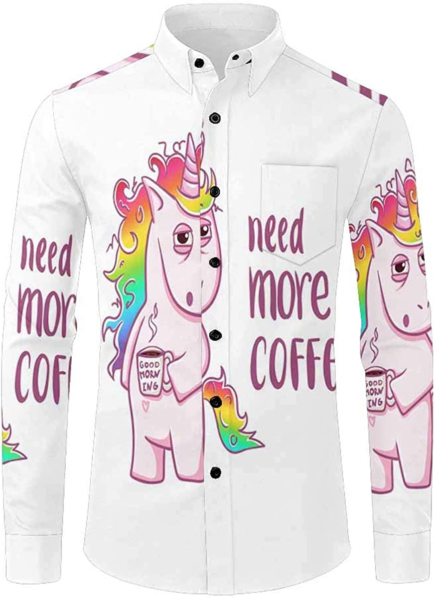 INTERESTPRINT Mens Slim Fit Long Sleeve Casual Button Down Dress Shirt Unicorn Magic Pattern