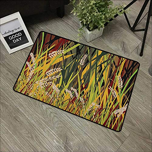 Buck Haggai Welcome Door mat Nature,Reeds Dried Leaves Wheat River Wild Plant Forest Farm Country Life Art Print Image, Multicolor,for Patio, Front Door, All Weather Exterior Doors,35