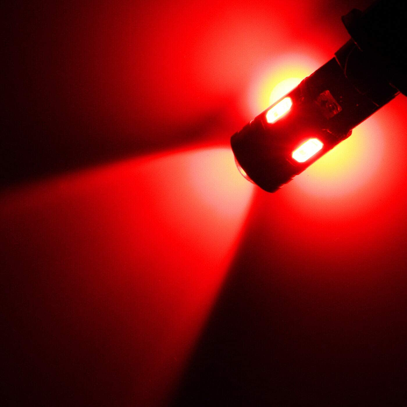 Error Free Xotic Tech 2X Red 9W T10 168 194 2825 W5W LED Bulb with Projector Lens for Brake Tail High Mount Stop Light