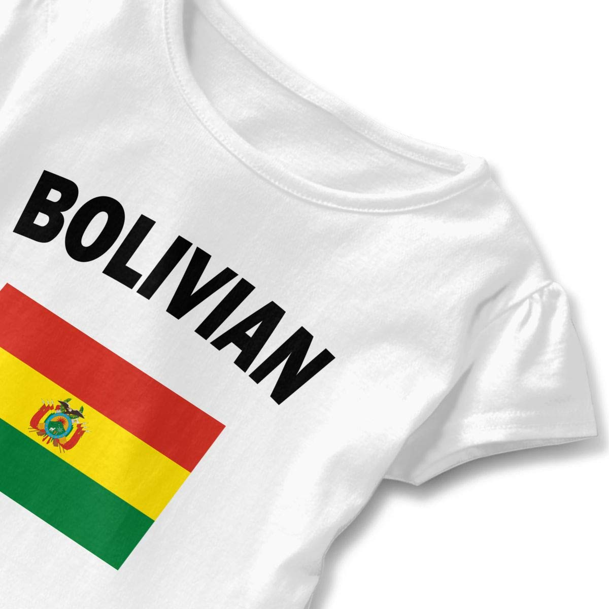 HYBDX9T Toddler Baby Girl Bolivian Flag Funny Short Sleeve Cotton T Shirts Basic Tops Tee Clothes