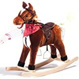 LIFE CARVER Rocking Horse Baby ride on toys with Sound Rocking Toys for Kids Handle Grip Traditional Kids Toy Gift (Brown)