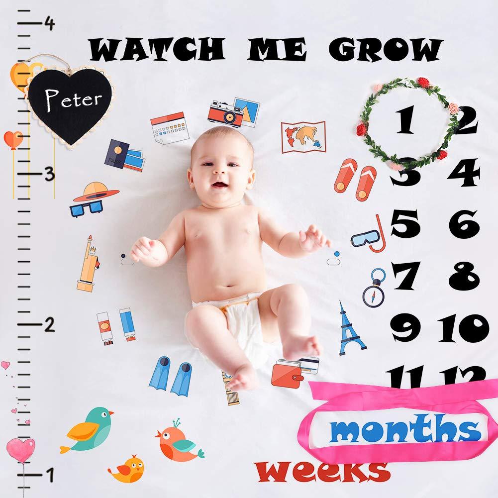 StillCool Mensual Mantas bebé Milestone hito Recién nacido regalo Fondo de Fotografía para Recién nacido y niños pequeños en crecimiento mamá & papá Recuerdo ST-10642