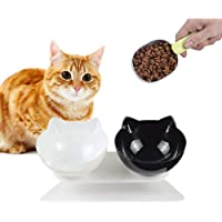 Automatic cat rice bowl,Raised Cat Food Bowl, Pet Bowl for Cats, Double Cat Bowl with Raised Stand(Black and white two colors)