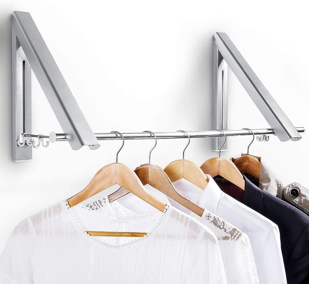 homde clothes drying rack no drilling 2 racks with 15 75 31 50 inch rod laundry room wall mounted clothes hanger folding wall coat racks retractable