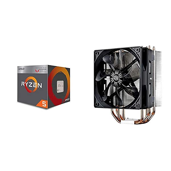 AMD Ryzen 5 3400G 4-core, 8-Thread Unlocked Desktop Processor with Radeon RX Graphics and Cooler Master Hyper 212 Evo CPU Cooler with PWM Fan, Four Direct Contact Heat Pipes