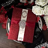 Red Wedding Invitations, Bridal Shower Invitation, Luxury Wedding Invitation With Red Ribbon - Set of 30