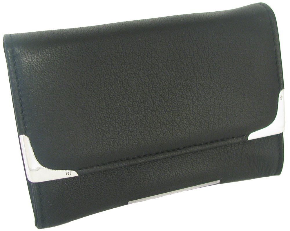 Martin Wess Silverline Metis Nappa Leather Small Stand Up Tobacco Pouch with 925 Sterling