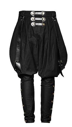 7ebd9e66e03d7 Pantalon Noir à Bretelles Militaire Homme Punk kodona Lolita, Post-apo Gothique  Punk -