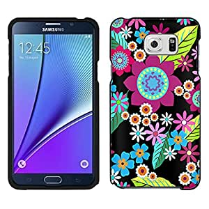 Samsung Galaxy Note 5 Case, Snap On Cover by Trek Retro Colorful Flower on Black Case
