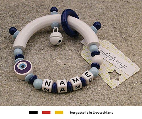 Baby Greifling Beißring halbrund mit Namen | individuelles Holz Lernspielzeug als Geschenk zur Geburt & Taufe | Jungen Motiv Auge von Nazar in dunkelblau