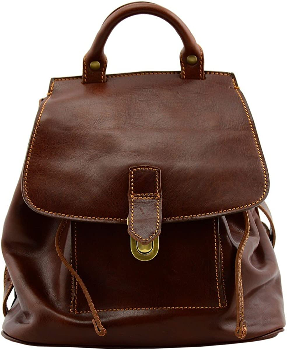 Genuine Leather Women Backpack Color Brown