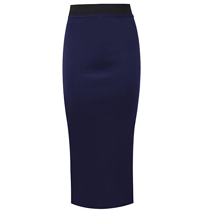 827677c7b5 Falda Tubo elástica para señora con cintura elástica negra de largo Midi   Amazon.es  Ropa y accesorios