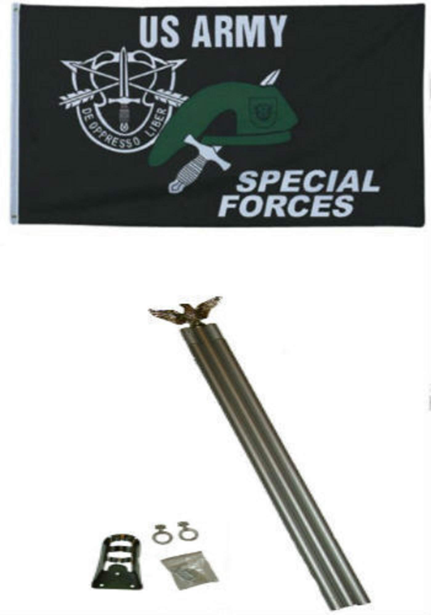 3x5 U.S. Army Special Forces Flag w 6 Ft Aluminum Flagpole Flag Pole kit BEST Garden Outdor Decor polyester material FLAG PREMIUM Vivid Color and UV Fade Resistant