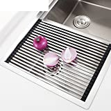 Stainless steel sink dish drying rack,Drain basket sink drain drip board kitchen racks collapsible drain roller shutter-A 47x32cm(19x13inch) For Sale