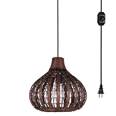 the best attitude 30b2e 24047 Kiven Handmade Weaving Brown Color Bamboo Rattan Chandelier Pendant  Lighting Hollow Lampshade E26 with 15ft UL Listed Plug-in Dimmable Switch  Cord ...