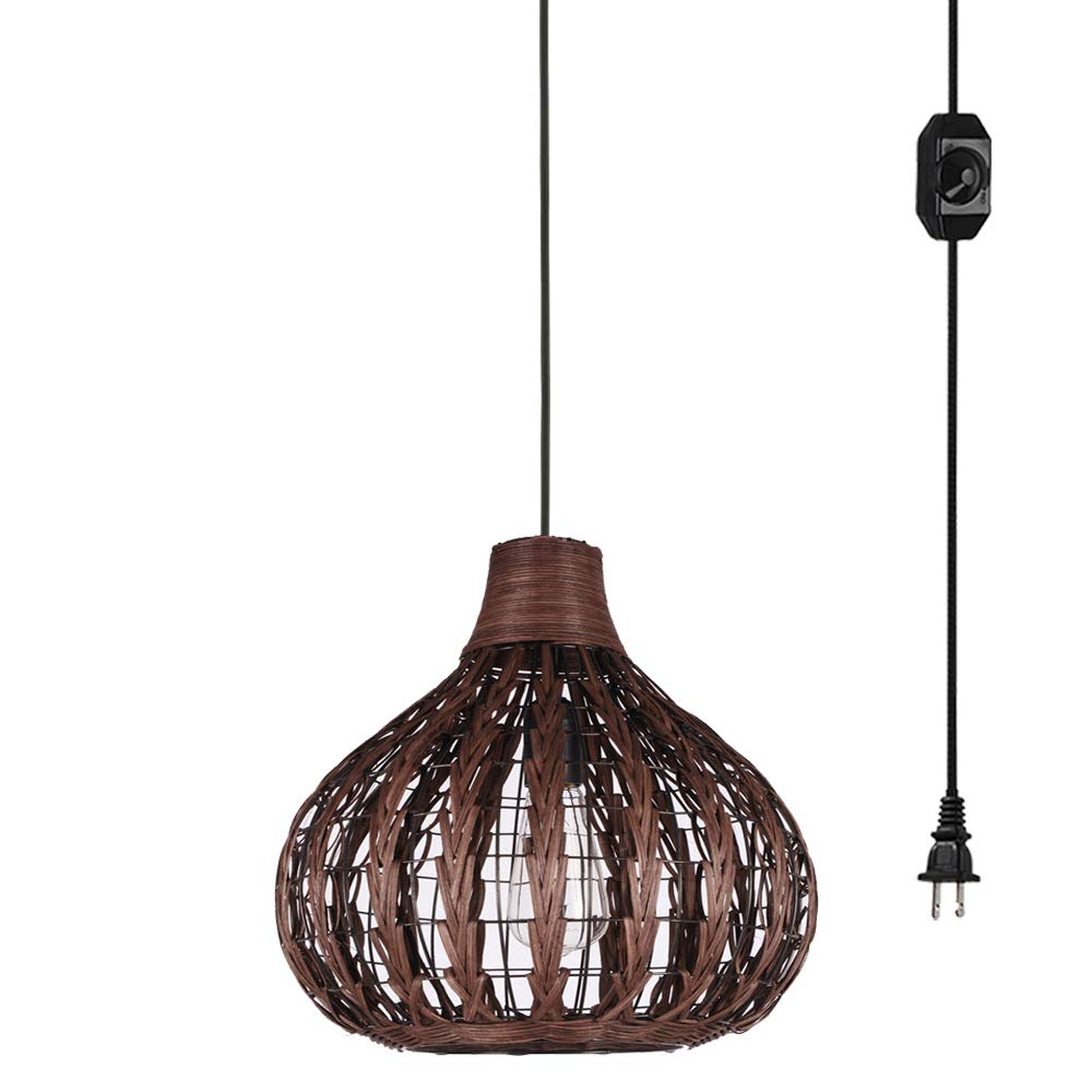 Kiven Handmade Weaving Brown Color Bamboo Rattan Chandelier Pendant Lighting Hollow Lampshade E26 with 15ft UL Listed Plug-in Dimmable Switch Cord Bulb Not Included
