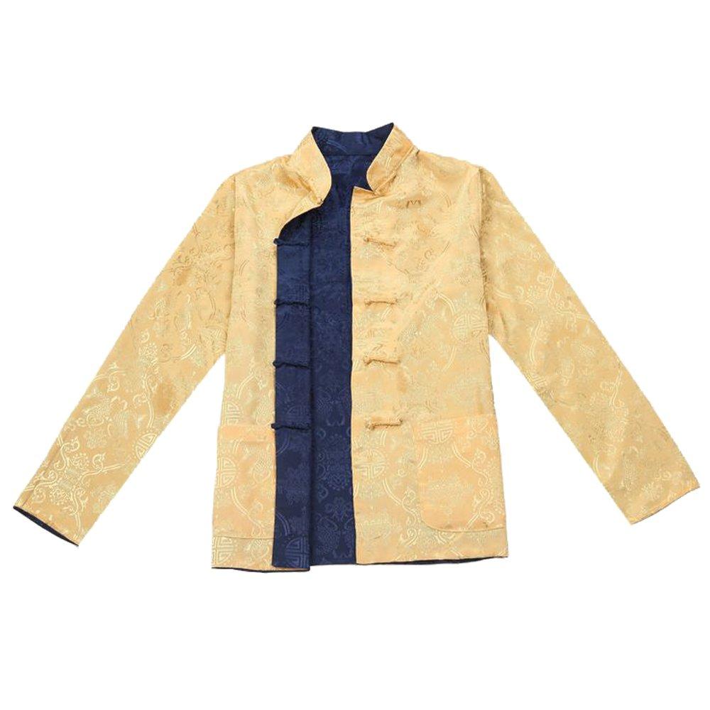 KINDOYO Men Reversible Both Sides Coat Jacket Chinese Traditional Long Sleeve Tang Suit Martial Arts Kung Fu Tai Chi Shirt
