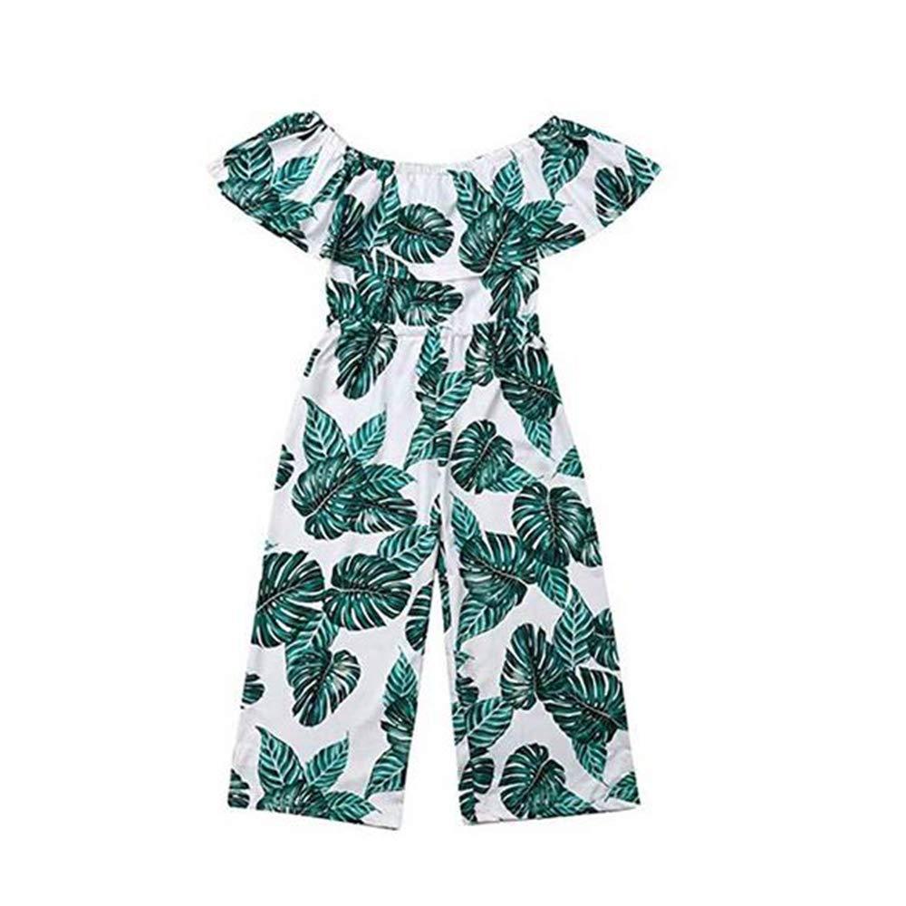 Greetuny B/éb/é Fille Combinaison /Épaules D/énud/ées Romper Bodysuit Imprim/é Floral Feuille Imprim/ée Jumpsuit