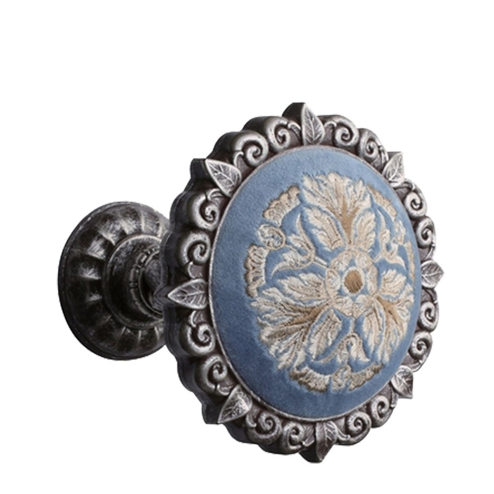 Chictie Decorative Window Drapery Medallion Holdbacks Flannelette Embroidered Wall Hooks Hanger for Curtain Scarf Valance (Vintage Silver)