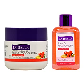 La Bella Rosa Mosqueta Rose Hip Face Cream 4oz + Rose Hip Oil 2.5oz ""