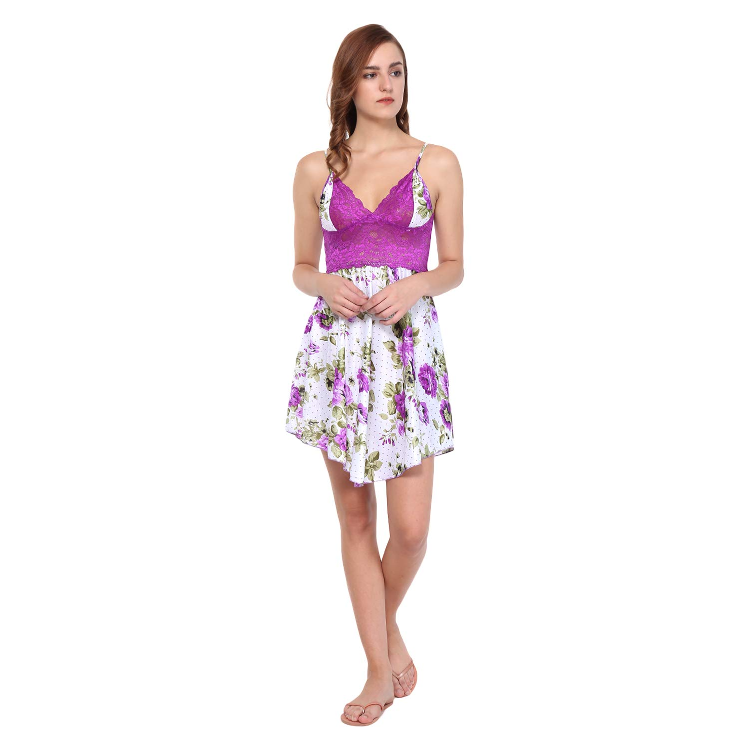 d2c22be83e87 Eldino Floral Print Babydoll Dress for Sexy Lingerie - Purple: Amazon.in:  Clothing & Accessories