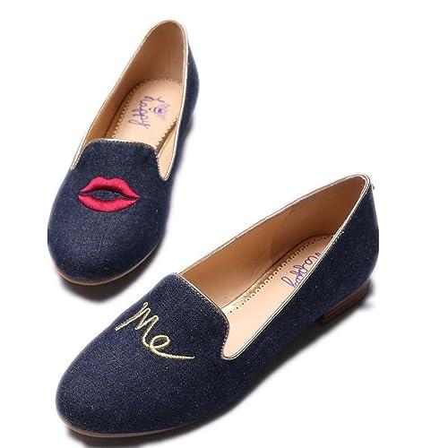 C. Wonder Time - Mocasines de Lona para Mujer Azul Azul, Color Azul, Talla 39,5 EU: Amazon.es: Zapatos y complementos