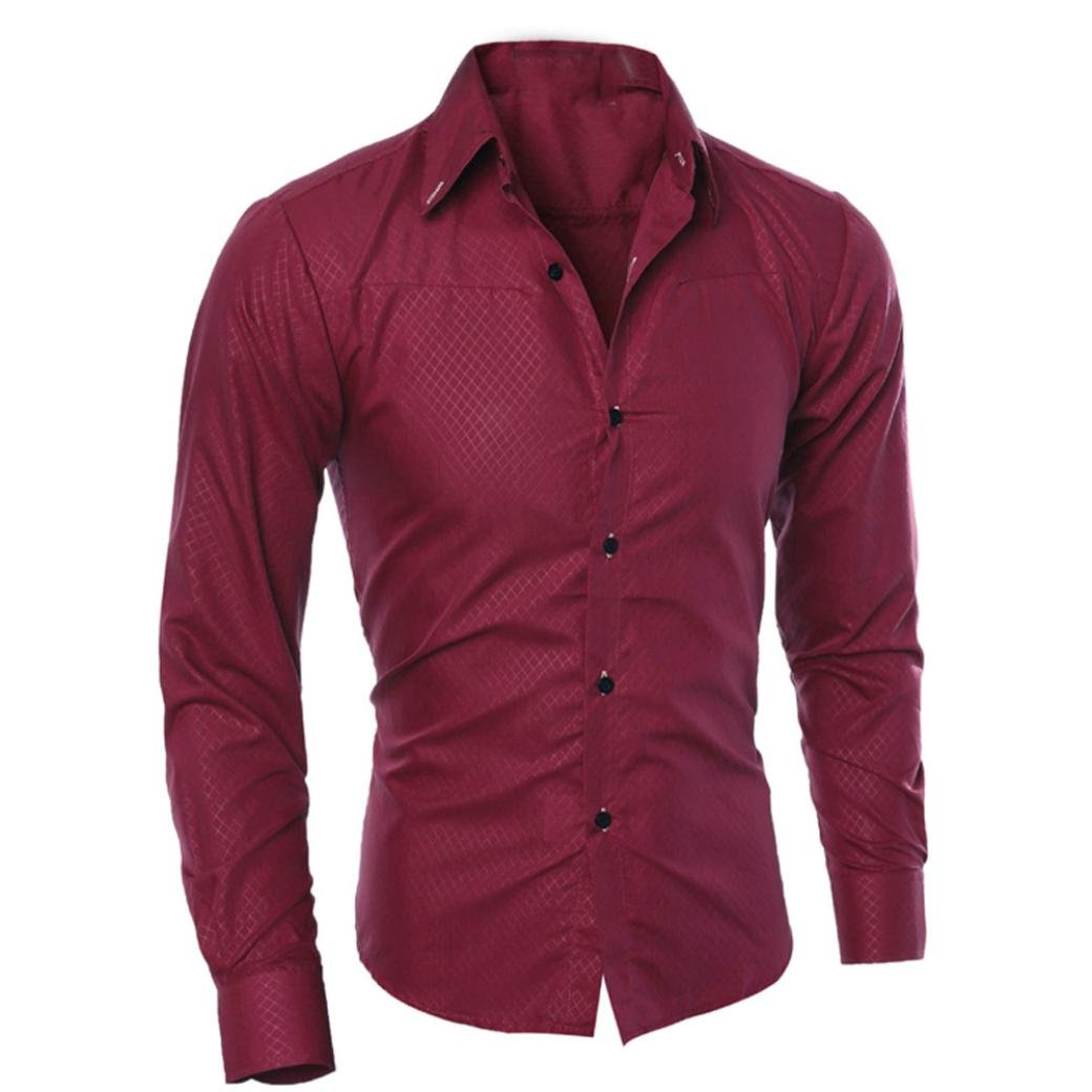 Mans Slim Shirts Tops Fashion Printed Blouse Casual Long Sleeve Clearance SWPS