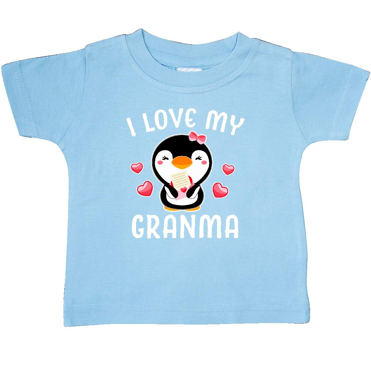 inktastic I Love My Granma with Cute Penguin and Hearts Baby T-Shirt