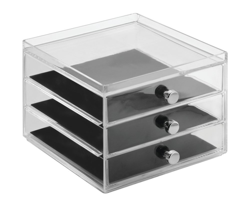 mDesign Fashion Jewelry Organizer Box for Rings, Earrings, Bracelets, Necklaces, Eyeglasses, Sunglasses - 3 Slim Drawers, Clear/Black