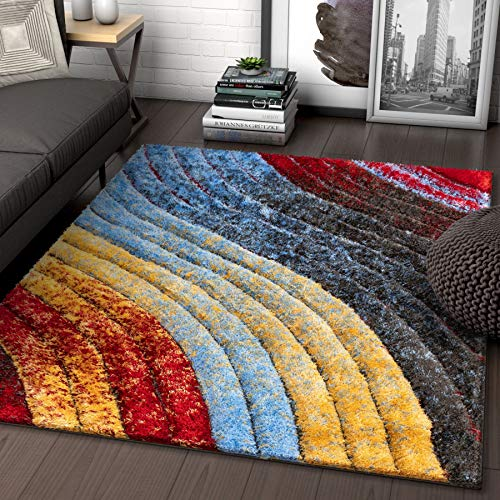 Well Woven Maura Multi Geometric Stripes Thick Soft Plush 3D Textured Shag Area Rug 5x7 (5'3