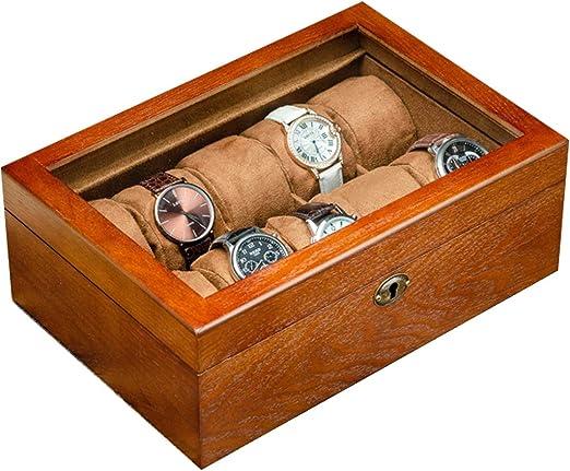 Caja de Relojes Estuche Caja de Reloj de Madera Maciza Organizador ...