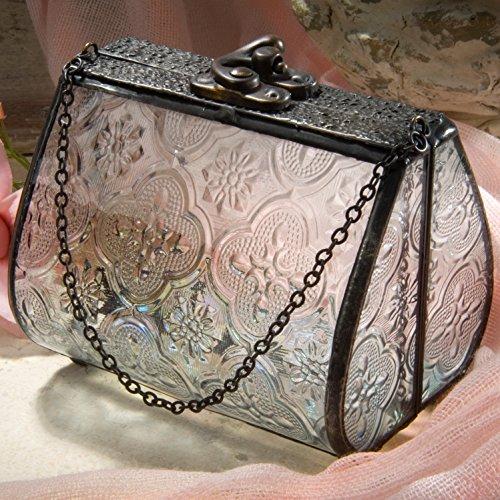 J Devlin Box 515 Glass Purse Trinket Box Keepsake Gift Vintage Stained Glass Home Decor