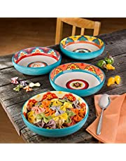 EuroCeramica Galicia Andalusian-Inspired Collection, Pasta Bowls Set of 4, Vibrant Assorted Patterns, Multicolor Design