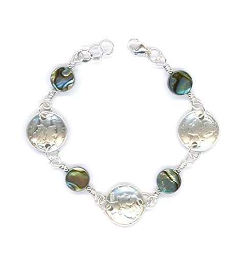 75th Birthday Gift Ideas For Women 1942 Dime Coin Paua Shell Bracelet Jewelry