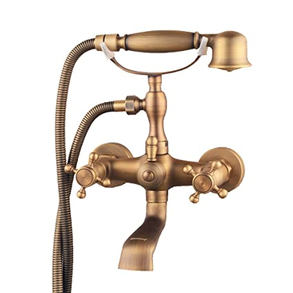 Fabulous Hiendure Bathroom Wall Mounted Mixer Tub Filler Shower Faucet Sets Telephone Shaped Handheld Shower Tub Faucet Double Crosss Handle Home Interior And Landscaping Eliaenasavecom