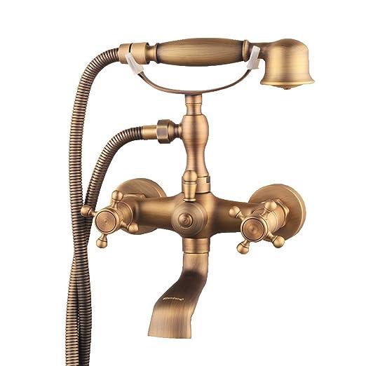 Hiendure® Montaje en pared dos asas grifo de la bañera con ducha ...