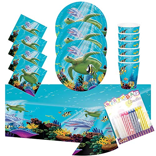 Ocean Party Dessert Plates Beverage Napkins Cups and Table Cover Serves 16 - Ocean Sea Turtle Dolphin Party Supplies Pack Deluxe (Bundle for 16) -