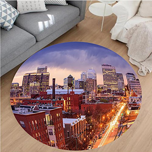 """Nalahome Modern Flannel Microfiber Non-Slip Machine Washable Round Area Rug-es Richmond Virginia Highway Office Buildings Downtown at Dusk Urban Lifestyle Multicolor area rugs Home Decor-Round 59"""""""