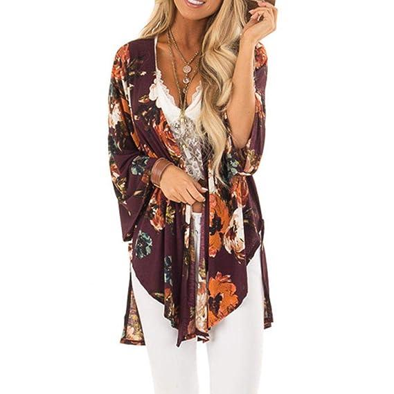 f72e2c81efd7f1 Luckycat Frauen Verband Floral Gedruckt DREI Viertel Strickjacke Kimono  Schal Bluse Mode 2018