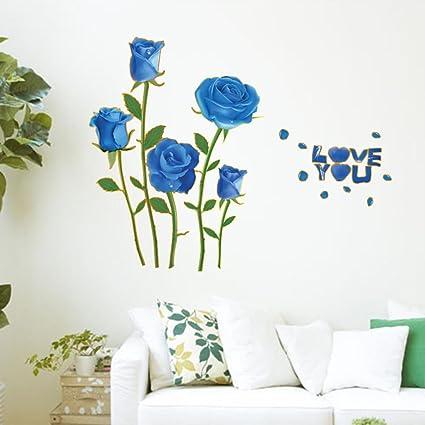 Amazon Com Bibitime Valentines Day Romantic Rose Decal Blue Flower